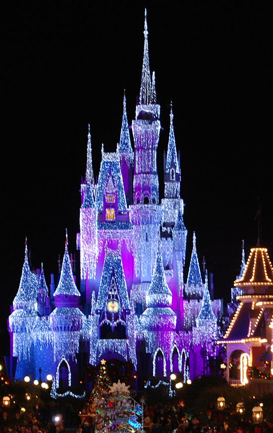 Cinderella's wish is for the castle to look like it has snow on it at Christmas time. it looks like its covered in diamonds when you see it in real life!