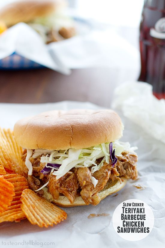 Slow Cooker Teriyaki Barbecue Chicken Sandwiches