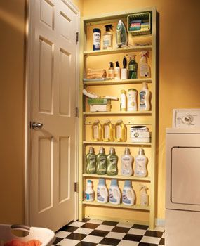 The space behind the door is often overlooked as a storage space. Build shallow shelves to fit behind the door in your laundry room, utility room or pantry.  Great idea if you need the space...I'm lucky with my laundry room!