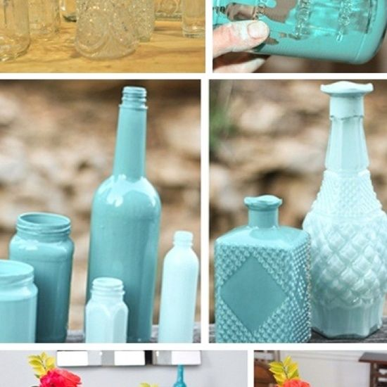 Bottles lined with paint, easy DIY DECORATING idea