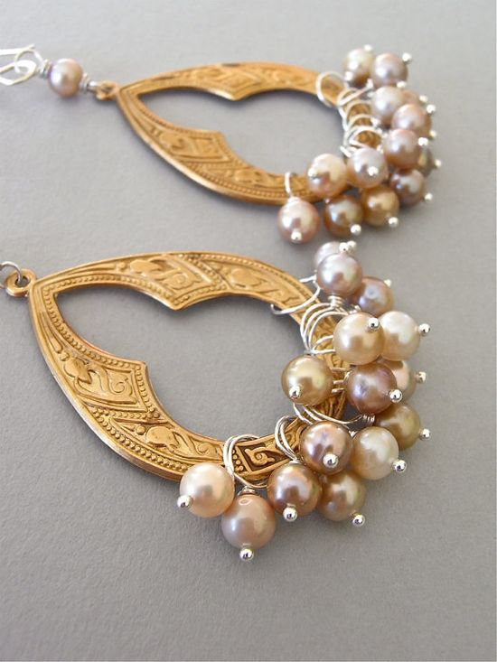The Agra earrings - vintage brass arches are adorned with lustrous freshwater pearls and finished with my hand forged sterling ear wires.