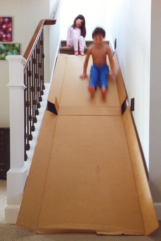 Cardboard + Stairs = DIY Slide!