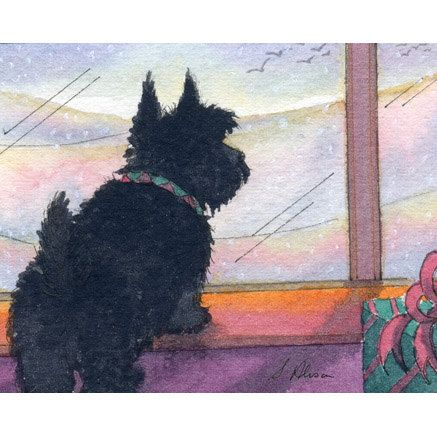 Scottish Terrier waiting  by susanalisonart,