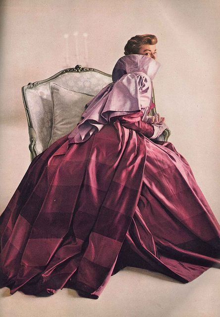 Love the ombre-like stripes of colour in the skirt of this enchanting 1940s evening gown. #vintage #fashion #1940s #purple