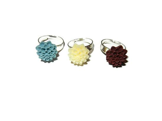 Set of 3 Resin Rings Light Blue Creme Maroon by CloudNineDesignz, $5.00
