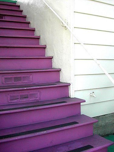 purple stairs.