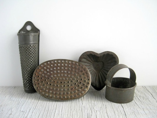 Vintage Tin Kitchen Tools Collection  Rustic by GoldenDaysAntiques, $16.00
