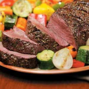 HAPPY FATHER'S DAY RECIPES ...??? Herbed Beef Tenderloin Recipe ~ INGREDIENTS:    Beef tenderloin roast  - Olive oil - Green onions - Garlic cloves - Dried basil, thyme and rosemary - Balsamic vinegar - Dijon mustard - Salt - Pepper