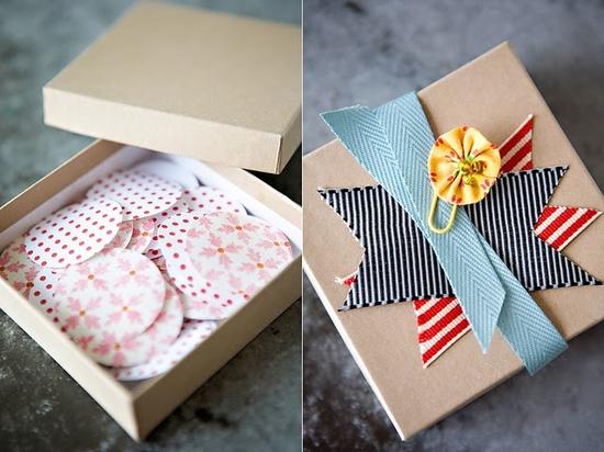 kraft box with ribbon