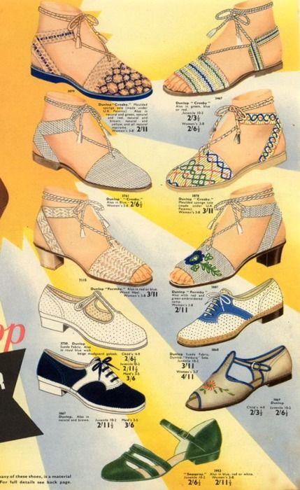 Summer shoes aplenty, ad c. 1940. #vintage #1940s #shoes