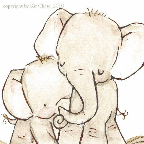 Sweet mama & baby elephant nursery print