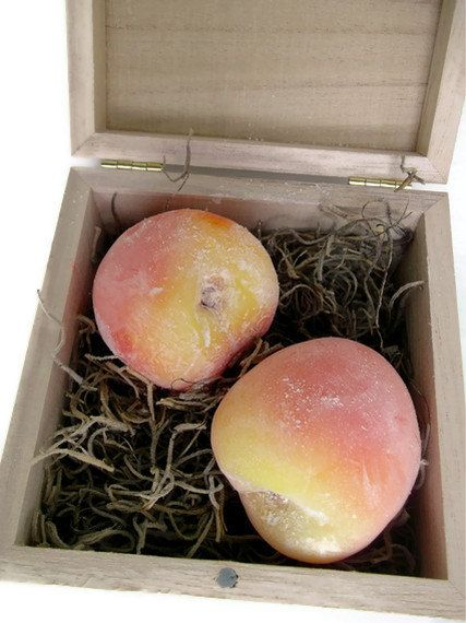 Peach Soaps Wood Box. Soap Art.. is this really soap? yes it is.  Amazing.