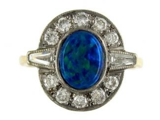 Art Deco Black Opal & Diamond Ring  Art Deco (1920 - 1935)