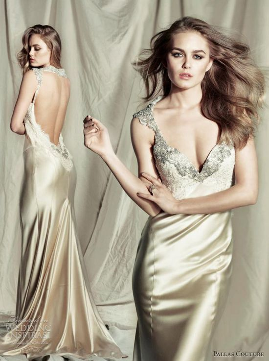 Pallas Couture 2013 bridal damzel wedding dress gold satin open back