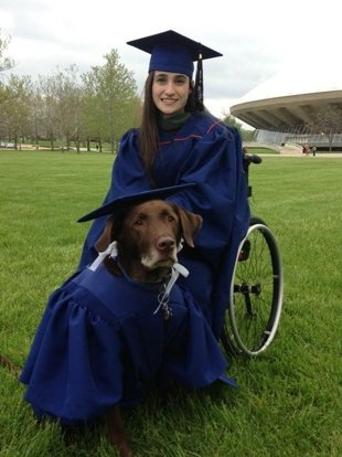 "Hero, the super service dog. His owner Bridget dressed him upon receiving her Master's degree saying, ""I couldn't have gone to college without him!"""