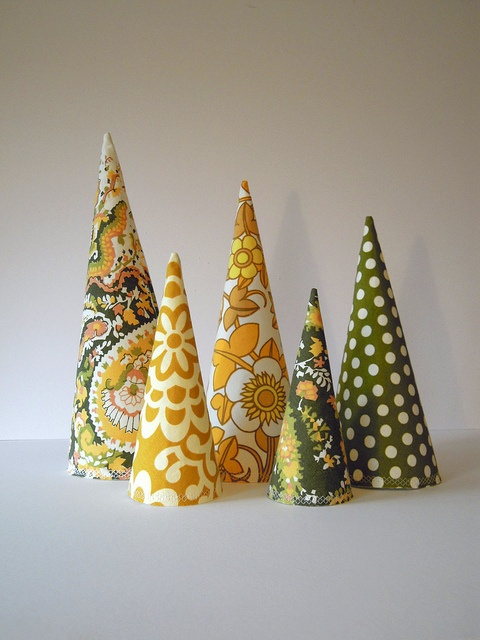 fabric trees- good idea for christmas
