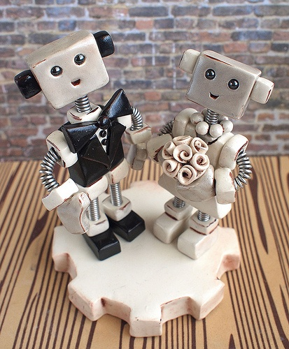 Recent Commission: Robot Wedding Cake Topper traditional with rustic flair. theawesomerobots.com #Robot #Wedding #Cake #Topper #Handmade