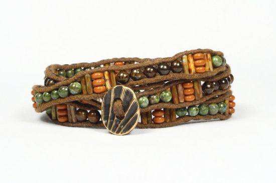 Wrap bracelet. Bronzite copper jasper gemstones. by CarolMade