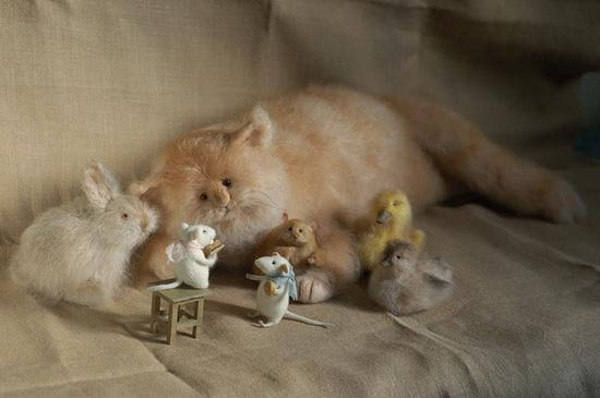 Needle felted animals by Natasha Fadeeva