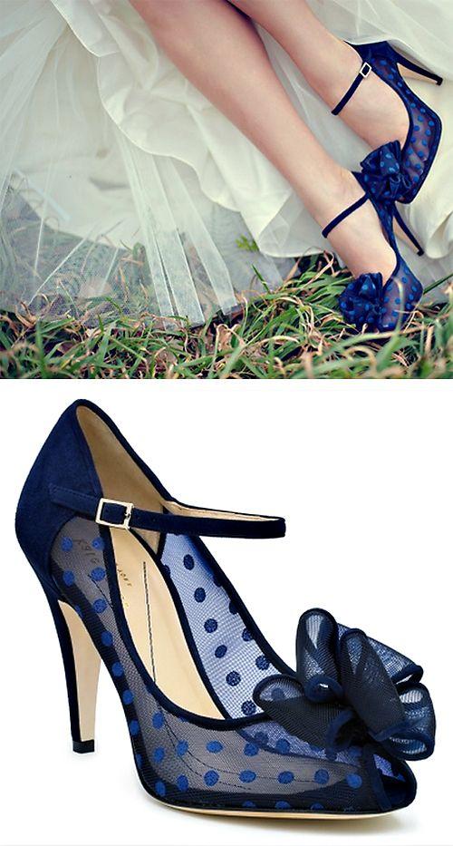blue sheer polka dot kate spade heels #wedding www.katespade.com...