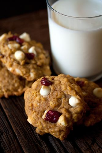 Pumpkin-Oatmeal Cookies with white chocolate chips.  looks good, but unhealthy
