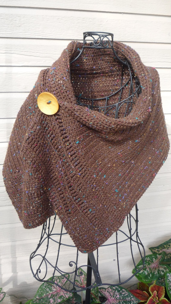 Brown Crocheted Wrap with Big Yellow Button. $45.00, via Etsy.