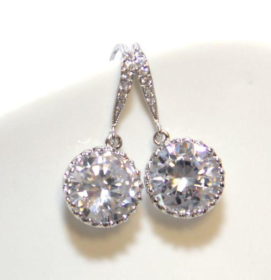 Pamela Sparkling Bridal Earrings Bridesmaids by GlitzAndLove