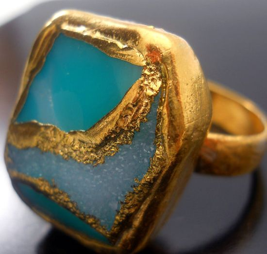 #ring, #turquoise, #gold