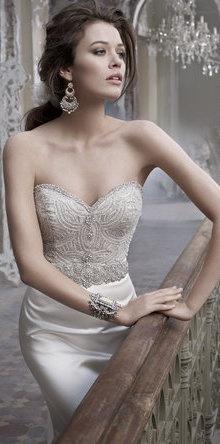 Lazaro Embellished Mermaid Wedding Gown with Sweetheart Neckline