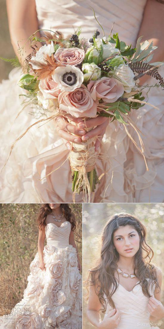 sareh nouri pink wedding dress strapless bohemian country wedding
