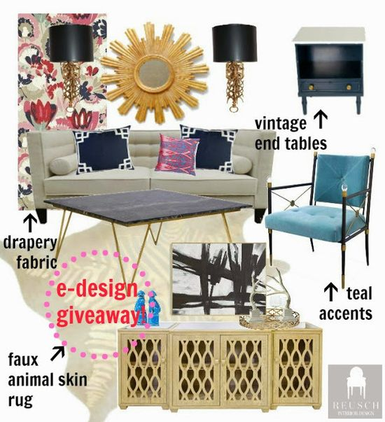e-Design Launch and Giveaway! Living Room design.