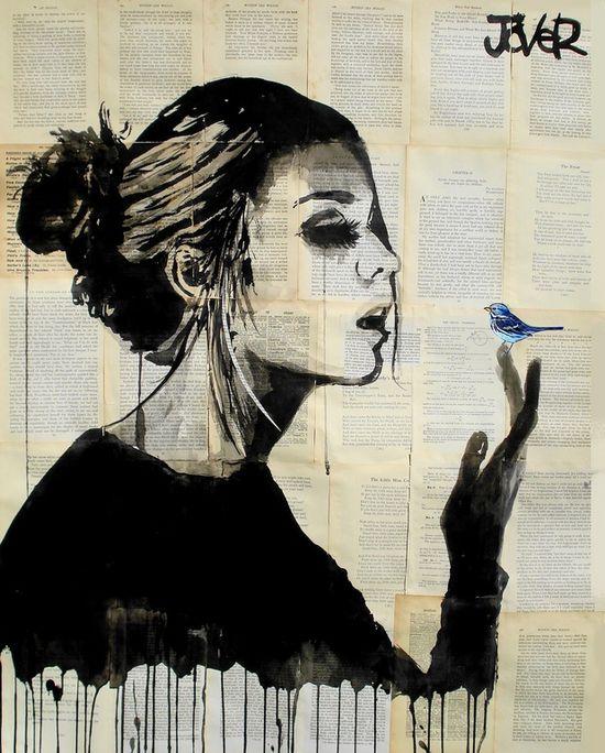 "Saatchi Online Artist: Loui Jover; Pen and Ink, 2013, Drawing ""blue bird"""