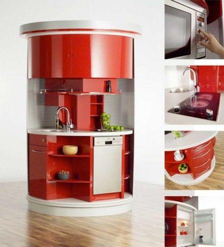Red Shapped Small Kitchen Interior Design Ideas - Kitchen