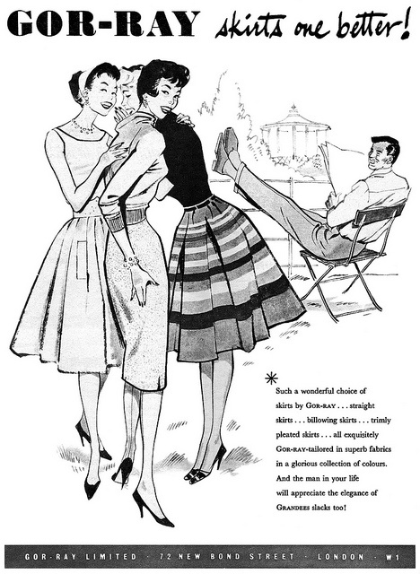 A charming 1950s illustrated ad for Gor-Ray fashions. #vintage #1950s #fashion #skirts