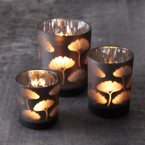 InStyle-Decor.com Beverly Hills Beautiful Ginko Leaf Glass Candle Votives Trending Unique Hollywood Events & Home Decor Inspirations Enjoy & Happy Pinning