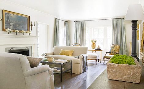 Before and After: Remodeled Houston Home - Traditional Home Pale pale blue w white sofas