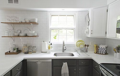 Love the use of counter space and open shelves
