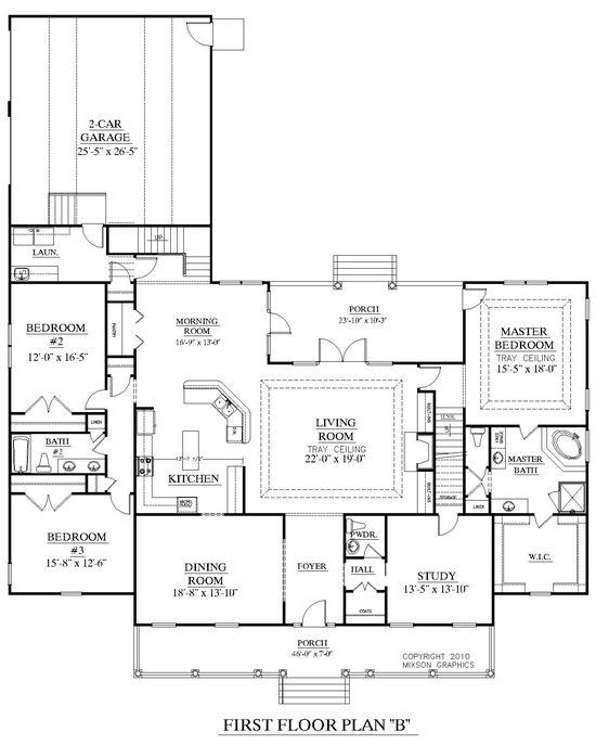 House Plan 3027-B Brookgreen B main floor