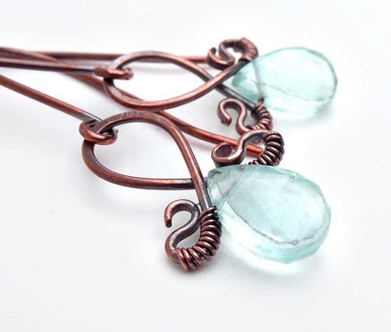 Oxidized copper earrings copper wire wrap by CreativityJewellery, $40.00