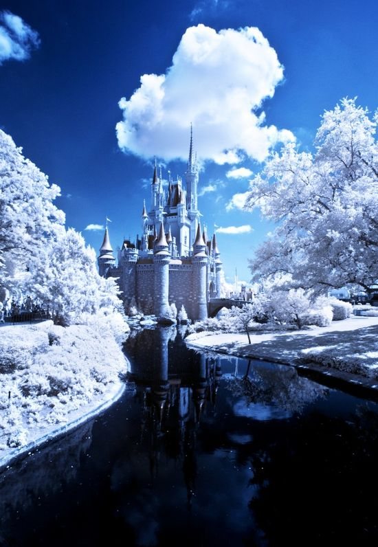Snow in Disney?! Nope, infrared Cinderella Castle photo!