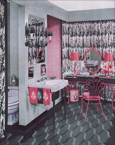 1951 Armstrong Pink & Green Bathroom