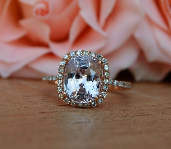 3.98ct Cushion peach champagne sapphire in 14k rose gold diamond ring engagement ring. $4,350.00, from EidelPrecious via Etsy.