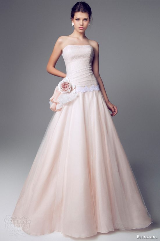 blumarine pink wedding dresses 2014 strapless a line gown lace accent