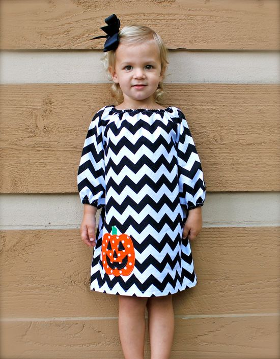Eeek...must try to sew for my niece! GREAT FOR FALL toddler-girls long sleeve brown chevron dress with orange pumpkin applique- 6-12mo,12mo,18mo,2,3,4,5,6,7/8. $40.00, via Etsy.