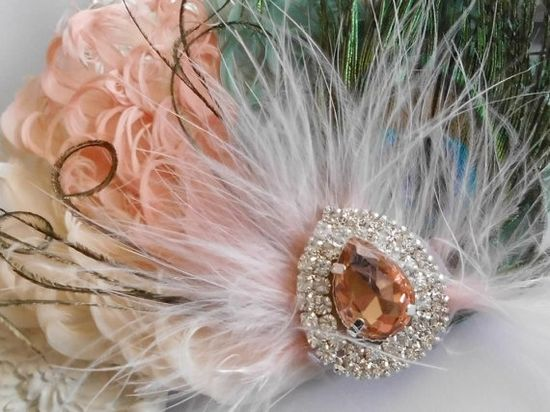 Wedding Feather Hair Accessories Feather by parfaitplumes on Etsy, $35.00 #wedding#bridesmaid#hair#accessory#feather#peach#ivory#seafoamgreen