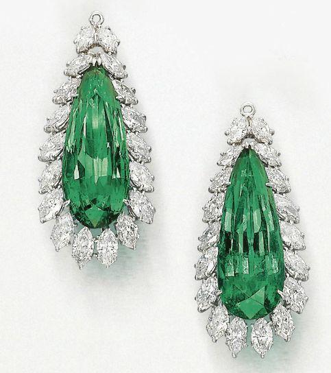 emerald and diamond pendants by Harry Winston.
