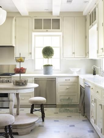 Emily Followill Photography - kitchens - ivory, cream, kitchen, cabinets, white, carrara, marble, countertops, backsplash, topiary, farmhouse sink, stools, cream cabinets, cream kitchen cabinets, cream shaker cabinets, cream shaker kitchen cabinets,