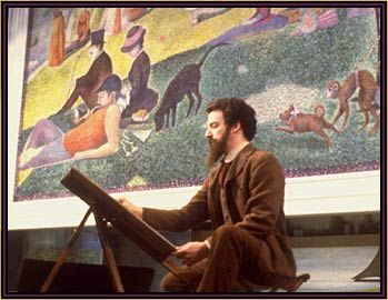 """Mandy Patinkin as Georges Seurat in """"Sunday in the Park with George"""". This play on film follows the creation of Seurat's famous painting. Love Bernadette Peters as the female lead."""