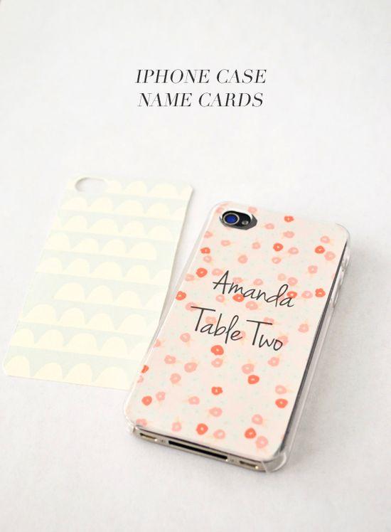 DIY iPhone Case name cards that can be removed and used as liners only after the party is over!
