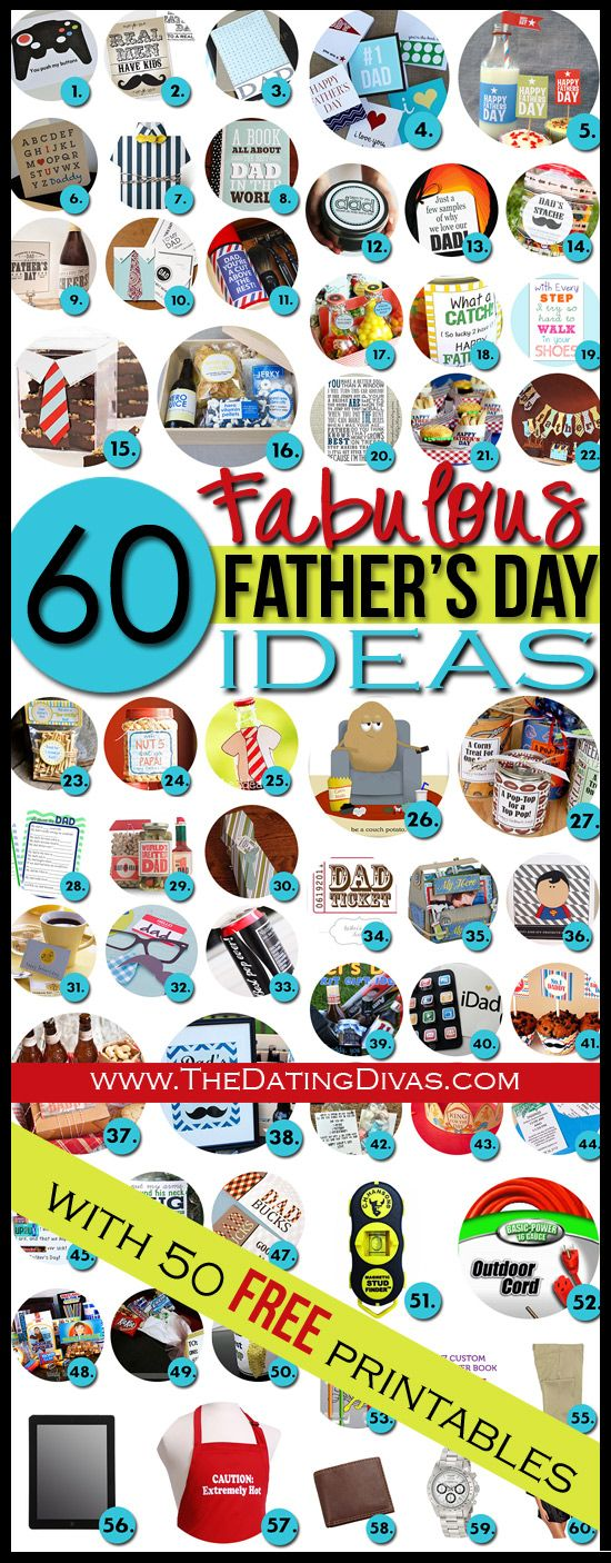The Father's Day JACKPOT!  50 fun FREE Father's Day printables PLUS 10 more rockin' gift ideas.  Hmmm... a lot of these could work for his birthday too.  Gotta pin it!  www.TheDatingDiva... #fathersday #freeprintables #giftsforhim